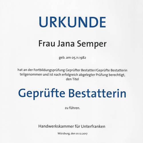Urkunde der Handwerkskammer Unterfranken